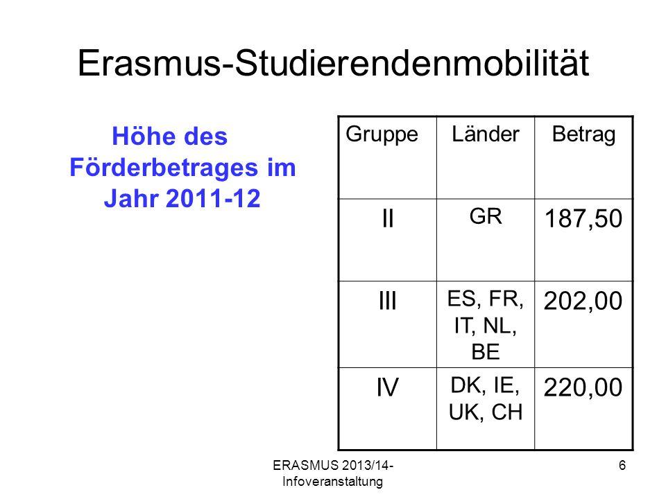 ERASMUS 2013/14- Infoveranstaltung 7 Erasmus-Studierendenmobilität Weitere Leistungen Unterstützung bei akademischer und sozialer Integration (Unterbringung) So weit wie möglich: Anerkennung von Studien- und Prüfungsleistungen – alles vorher absprechen (Achtung: BA- Studierende) KEIN BEGABTENPROGRAMM