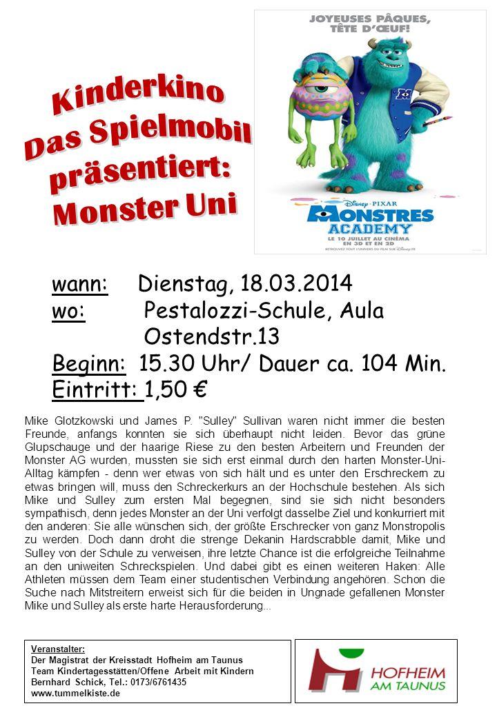 wann: Dienstag, 18.03.2014 wo: Pestalozzi-Schule, Aula Ostendstr.13 Beginn: 15.30 Uhr/ Dauer ca.