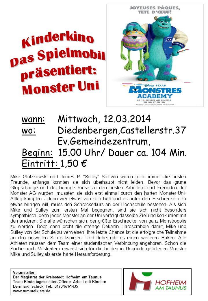 wann: Mittwoch, 12.03.2014 wo: Diedenbergen,Castellerstr.37 Ev.Gemeindezentrum, Beginn: 15.00 Uhr/ Dauer ca.