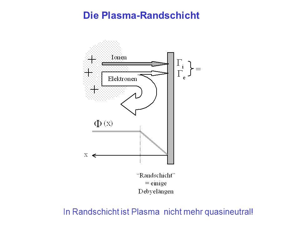 Die Plasma-Randschicht In Randschicht ist Plasma nicht mehr quasineutral!