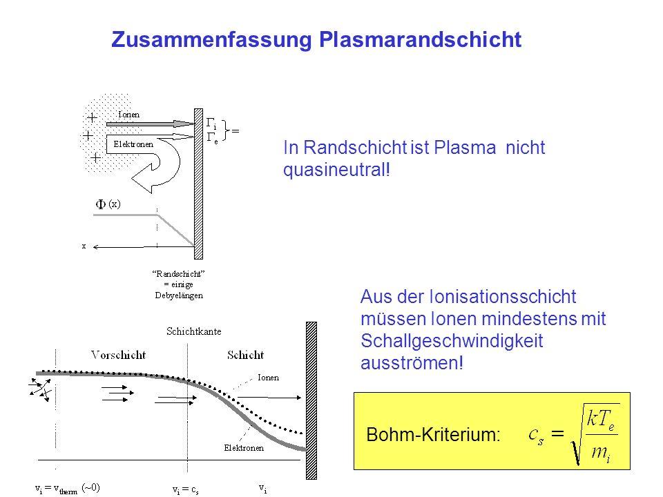 Zusammenfassung Plasmarandschicht In Randschicht ist Plasma nicht quasineutral! Bohm-Kriterium: Aus der Ionisationsschicht müssen Ionen mindestens mit