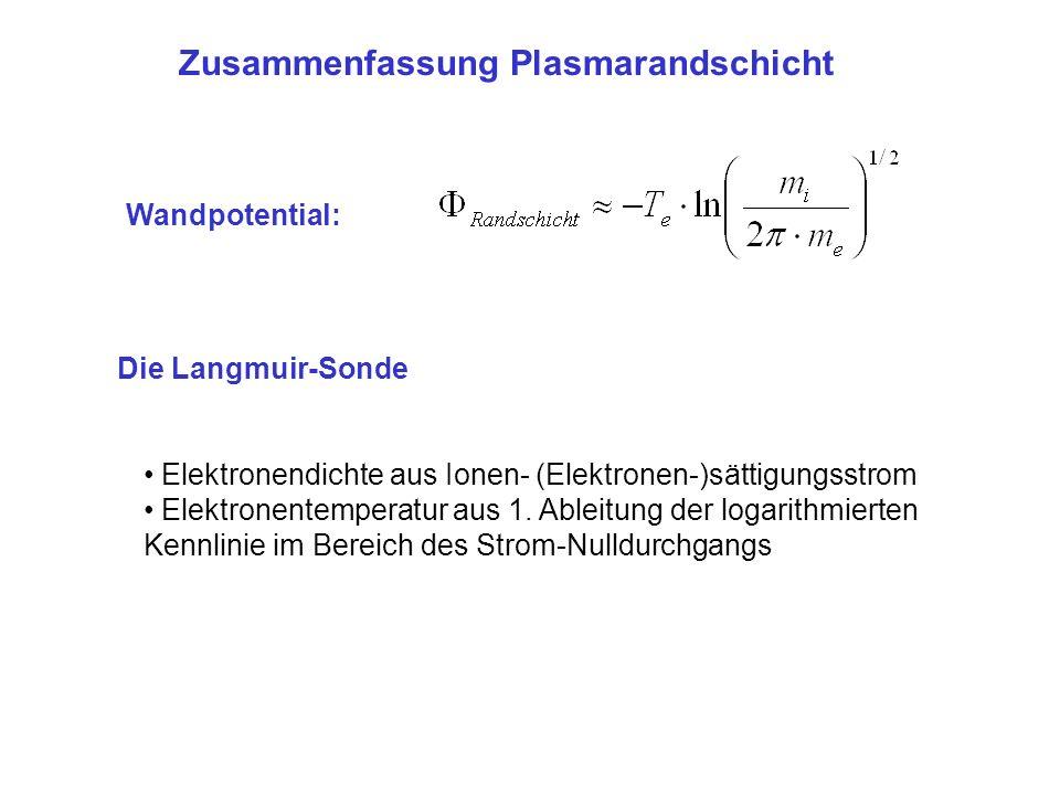 Zusammenfassung Plasmarandschicht Die Langmuir-Sonde Wandpotential: Elektronendichte aus Ionen- (Elektronen-)sättigungsstrom Elektronentemperatur aus