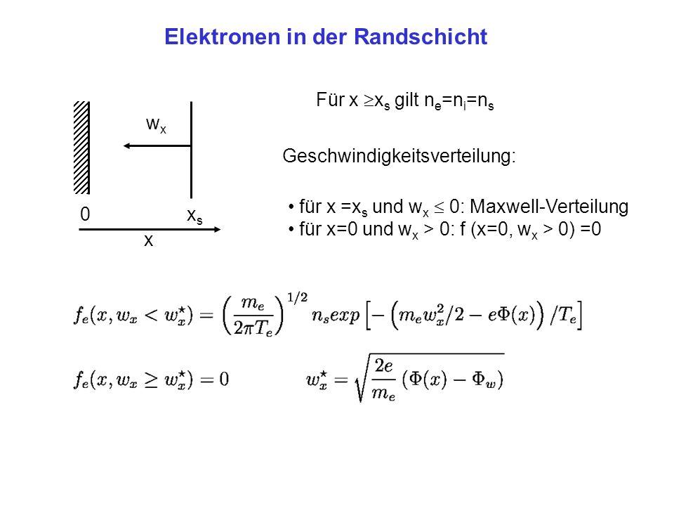 x xsxs 0 Elektronen in der Randschicht wxwx Für x x s gilt n e =n i =n s Geschwindigkeitsverteilung: für x =x s und w x 0: Maxwell-Verteilung für x=0