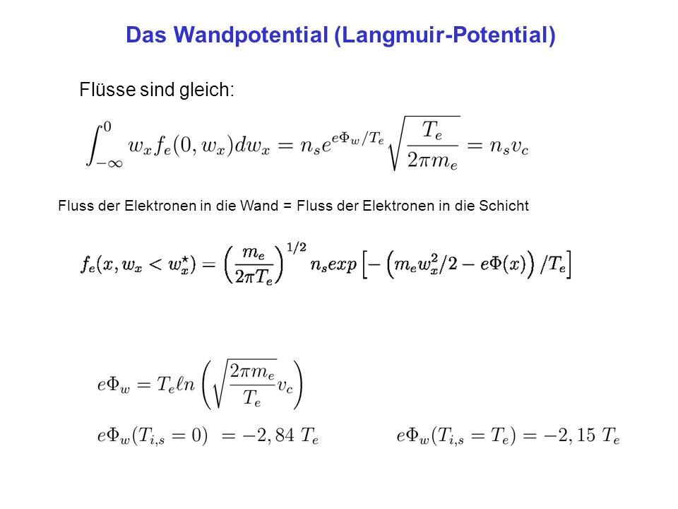 Das Wandpotential (Langmuir-Potential) Flüsse sind gleich: Fluss der Elektronen in die Wand = Fluss der Elektronen in die Schicht