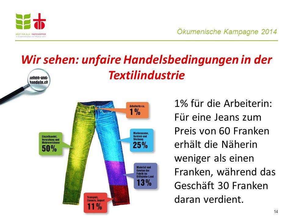 Ökumenische Kampagne 2014 14 1% für die Arbeiterin: Für eine Jeans zum Preis von 60 Franken erhält die Näherin weniger als einen Franken, während das