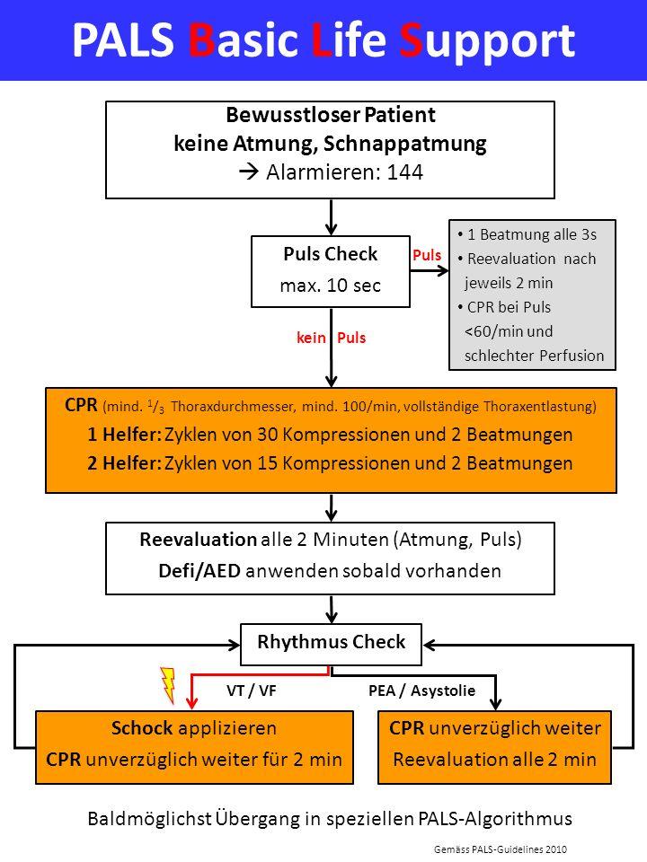 PALS Basic Life Support Puls Check max. 10 sec CPR (mind. 1 / 3 Thoraxdurchmesser, mind. 100/min, vollständige Thoraxentlastung) 1 Helfer: Zyklen von