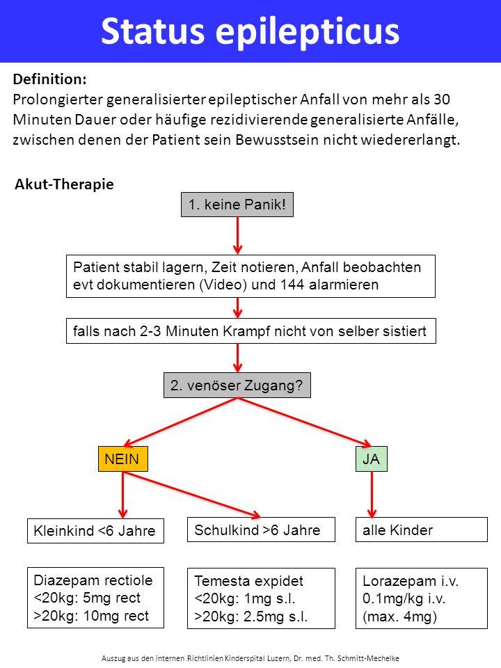 Status epilepticus Auszug aus den internen Richtlinien Kinderspital Luzern, Dr. med. Th. Schmitt-Mechelke Definition: Prolongierter generalisierter ep