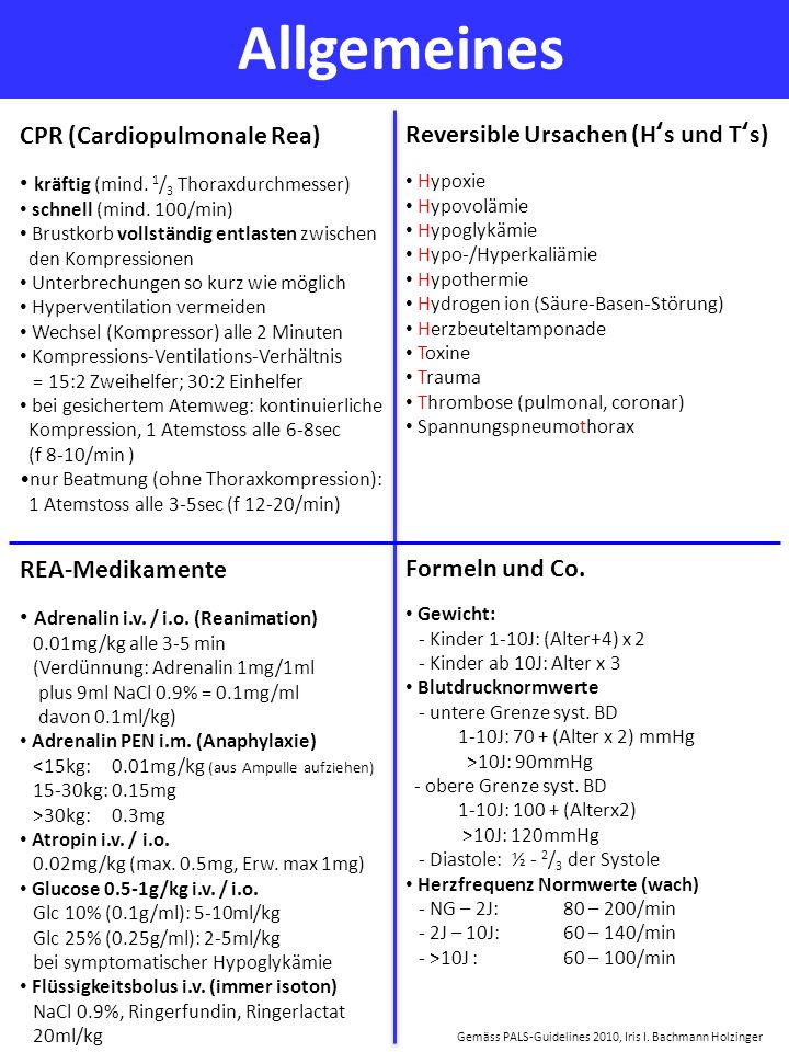 Allgemeines Gemäss PALS-Guidelines 2010, Iris I. Bachmann Holzinger CPR (Cardiopulmonale Rea) kräftig (mind. 1 / 3 Thoraxdurchmesser) schnell (mind. 1