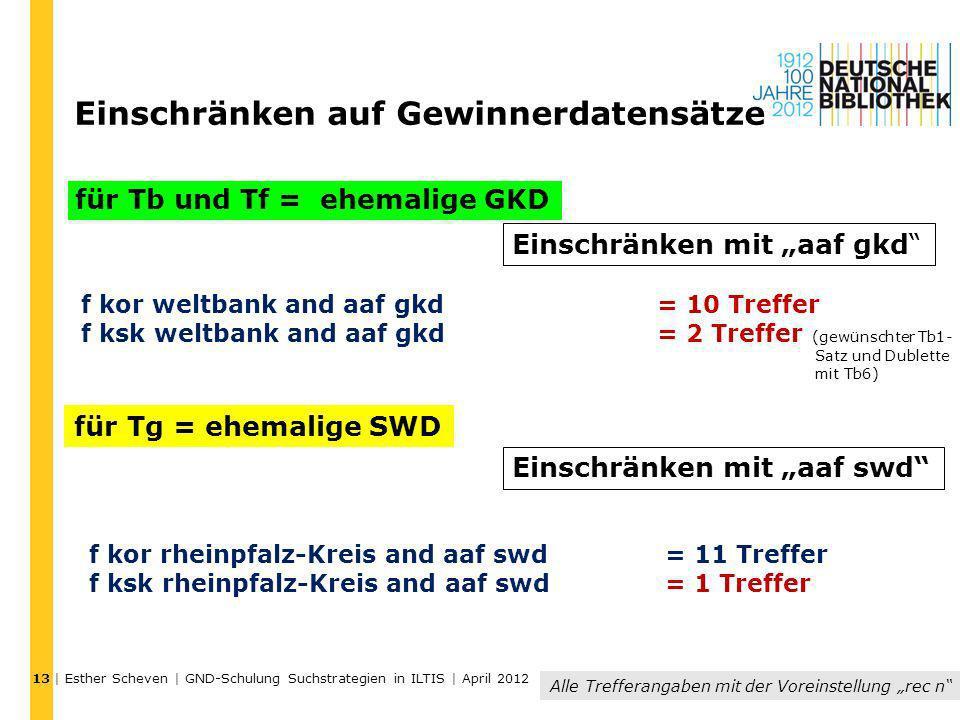 | Esther Scheven | GND-Schulung Suchstrategien in ILTIS | April 2012 Einschränken auf Gewinnerdatensätze für Tb und Tf = ehemalige GKD für Tg = ehemal