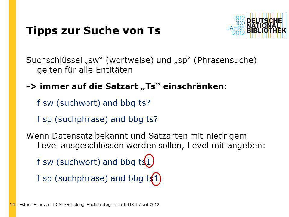 Tipps zur Suche von Ts Suchschlüssel sw (wortweise) und sp (Phrasensuche) gelten für alle Entitäten -> immer auf die Satzart Ts einschränken: f sw (su