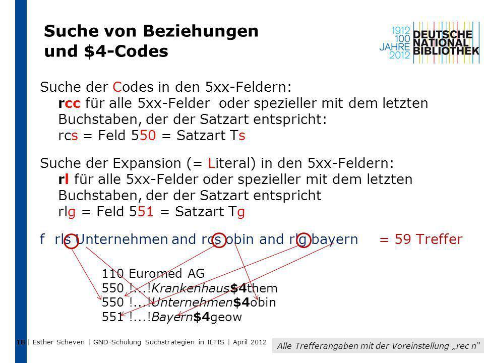 Suche von Beziehungen und $4-Codes Suche der Codes in den 5xx-Feldern: rcc für alle 5xx-Felder oder spezieller mit dem letzten Buchstaben, der der Sat