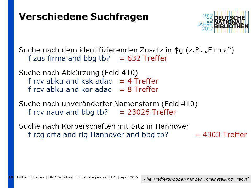 Verschiedene Suchfragen Suche nach dem identifizierenden Zusatz in $g (z.B. Firma) f zus firma and bbg tb?= 632 Treffer Suche nach Abkürzung (Feld 410