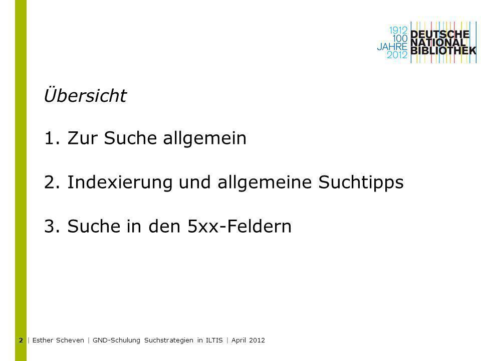 Übersicht 1.Zur Suche allgemein 2.Indexierung und allgemeine Suchtipps 3.Suche in den 5xx-Feldern | Esther Scheven | GND-Schulung Suchstrategien in IL