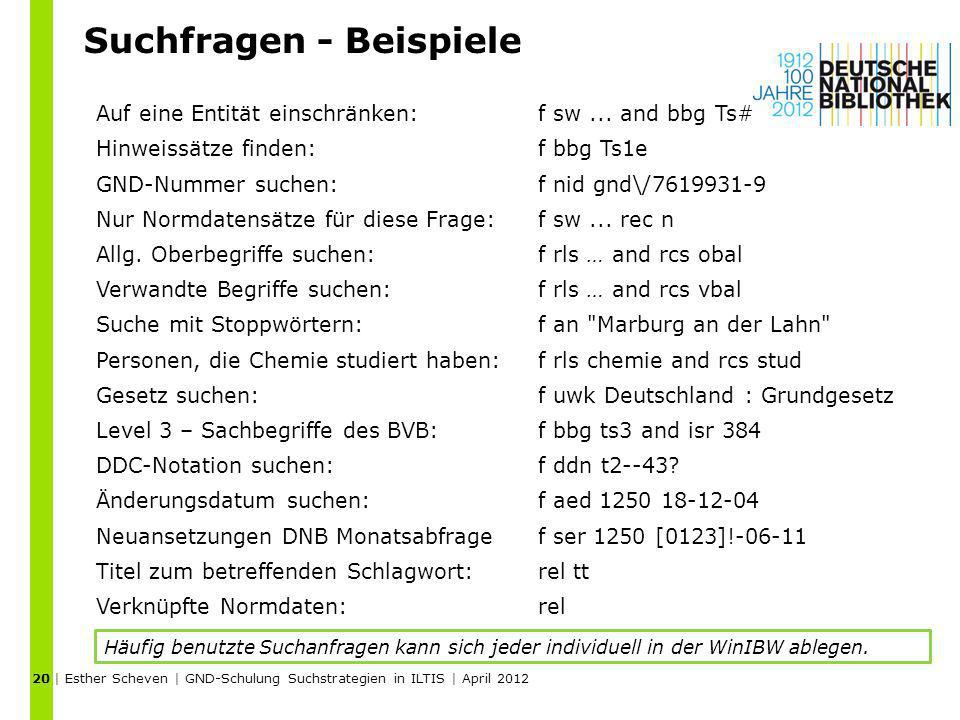 Suchfragen - Beispiele | Esther Scheven | GND-Schulung Suchstrategien in ILTIS | April 2012 20 Auf eine Entität einschränken:f sw... and bbg Ts# Hinwe