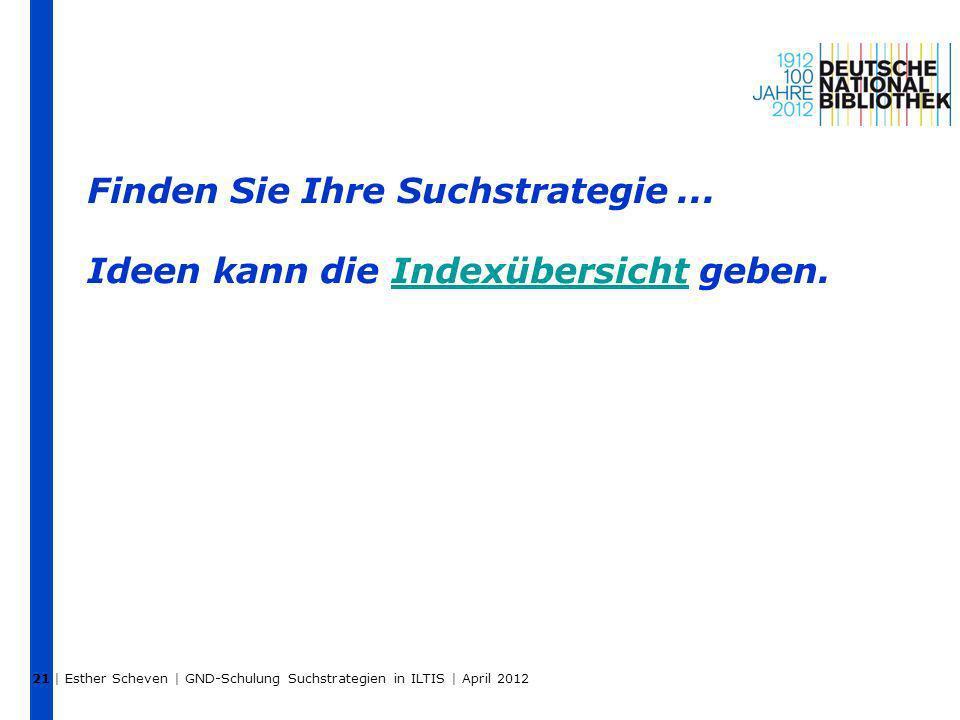 | Esther Scheven | GND-Schulung Suchstrategien in ILTIS | April 2012 21 Finden Sie Ihre Suchstrategie... Ideen kann die Indexübersicht geben.Indexüber