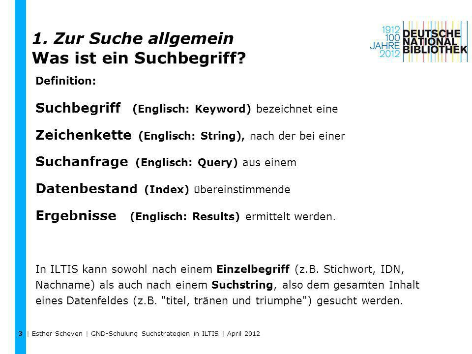 | Esther Scheven | GND-Schulung Suchstrategien in ILTIS | April 2012 4 Warum ist ein Suchbegriff suchbar.