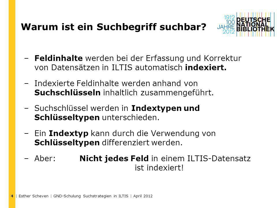 | Esther Scheven | GND-Schulung Suchstrategien in ILTIS | April 2012 4 Warum ist ein Suchbegriff suchbar? –Feldinhalte werden bei der Erfassung und Ko
