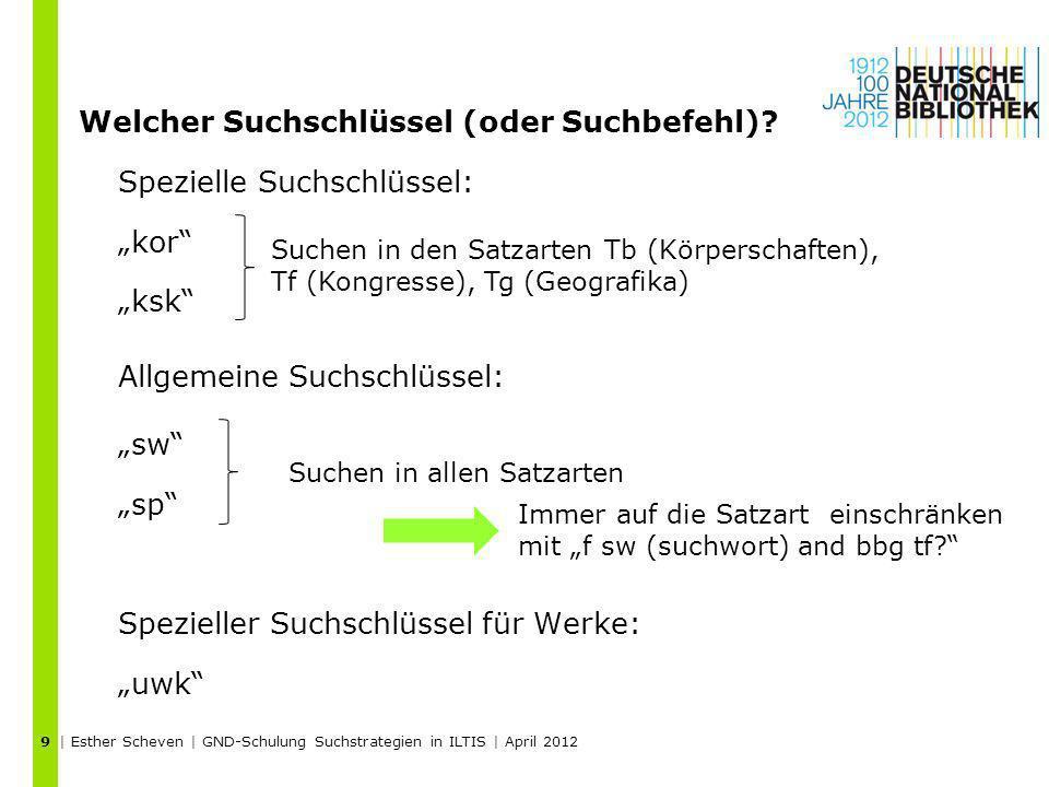 | Esther Scheven | GND-Schulung Suchstrategien in ILTIS | April 2012 9 Welcher Suchschlüssel (oder Suchbefehl)? Spezielle Suchschlüssel: kor ksk Allge