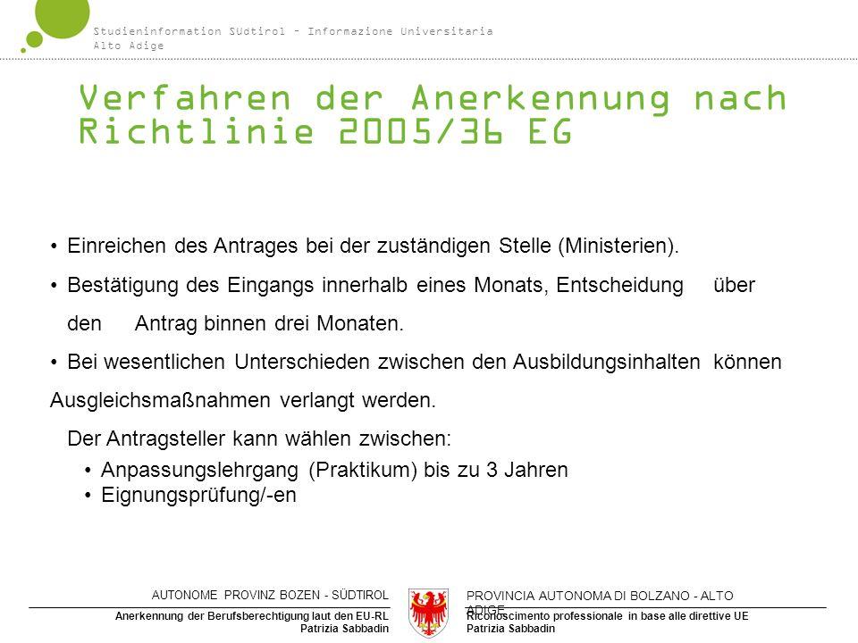 Riconoscimento professionale in base alle direttive UE Patrizia Sabbadin Anerkennung der Berufsberechtigung laut den EU-RL Patrizia Sabbadin Verfahren