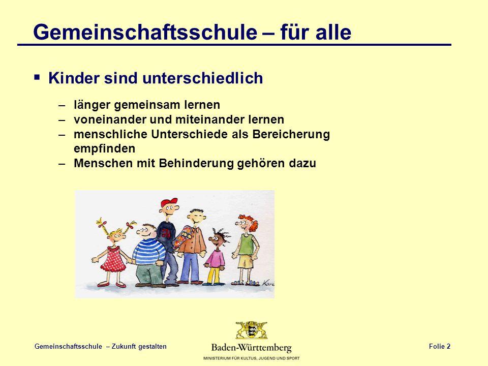 Folie 3 Gemeinschaftsschule – Zukunft gestalten Gemeinschaftsschule – für alle Kinder sind unterschiedlich GRUNDGESETZ Art.