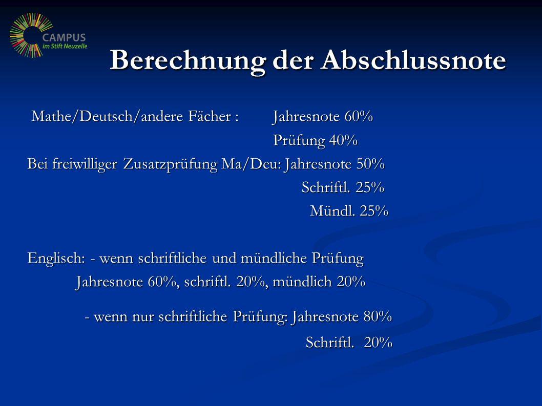 Berechnung der Abschlussnote Mathe/Deutsch/andere Fächer : Jahresnote 60% Mathe/Deutsch/andere Fächer : Jahresnote 60% Prüfung 40% Bei freiwilliger Zusatzprüfung Ma/Deu: Jahresnote 50% Schriftl.