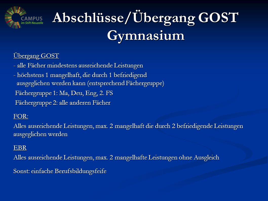 Abschlüsse Oberschule Übergang GOST - FORQ - mindestens drei B-Kurse mit jeweils befriedigende L.