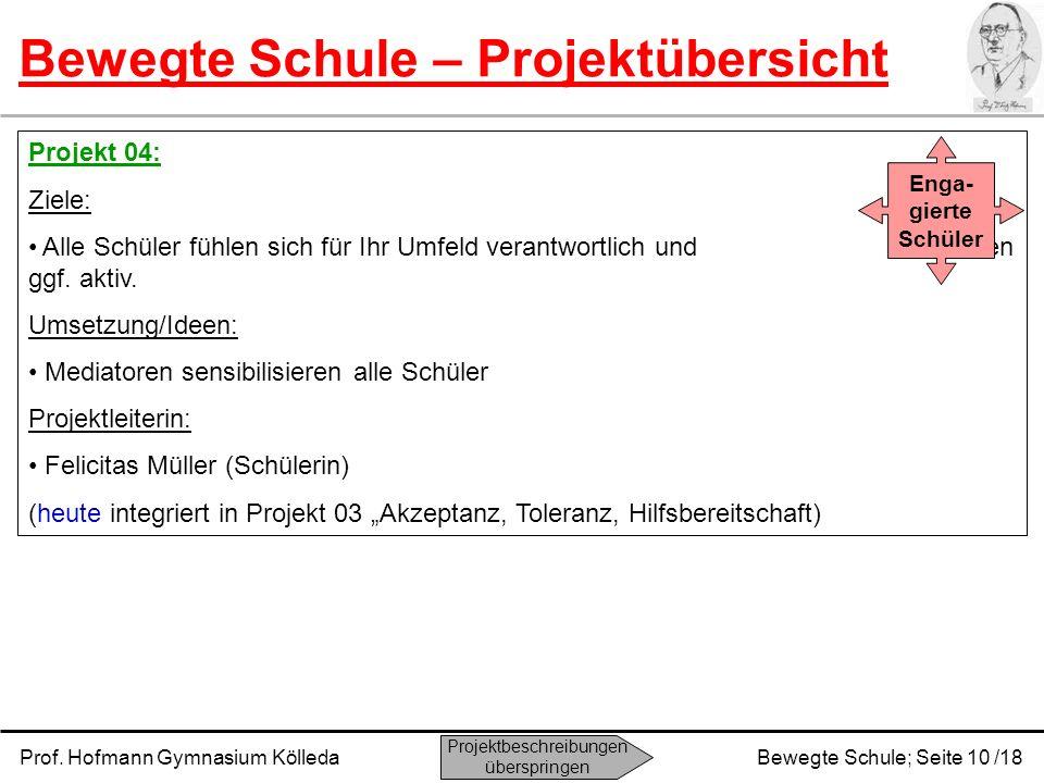Prof. Hofmann Gymnasium KölledaBewegte Schule; Seite 10 /18 Bewegte Schule – Projektübersicht Projekt 04: Ziele: Alle Schüler fühlen sich für Ihr Umfe