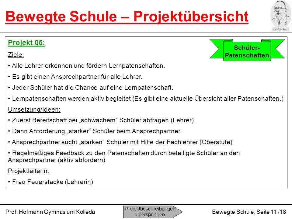 Prof. Hofmann Gymnasium KölledaBewegte Schule; Seite 11 /18 Bewegte Schule – Projektübersicht Projekt 05: Ziele: Alle Lehrer erkennen und fördern Lern