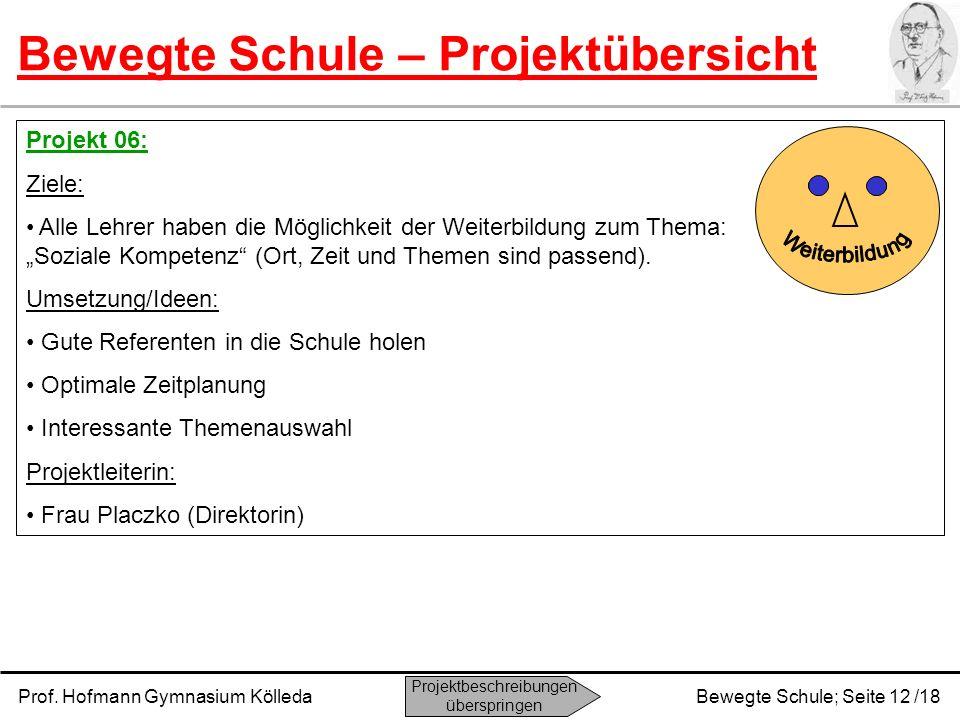 Prof. Hofmann Gymnasium KölledaBewegte Schule; Seite 12 /18 Bewegte Schule – Projektübersicht Projekt 06: Ziele: Alle Lehrer haben die Möglichkeit der