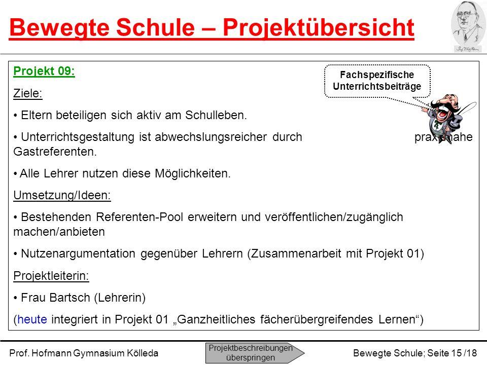 Prof. Hofmann Gymnasium KölledaBewegte Schule; Seite 15 /18 Bewegte Schule – Projektübersicht Projekt 09: Ziele: Eltern beteiligen sich aktiv am Schul