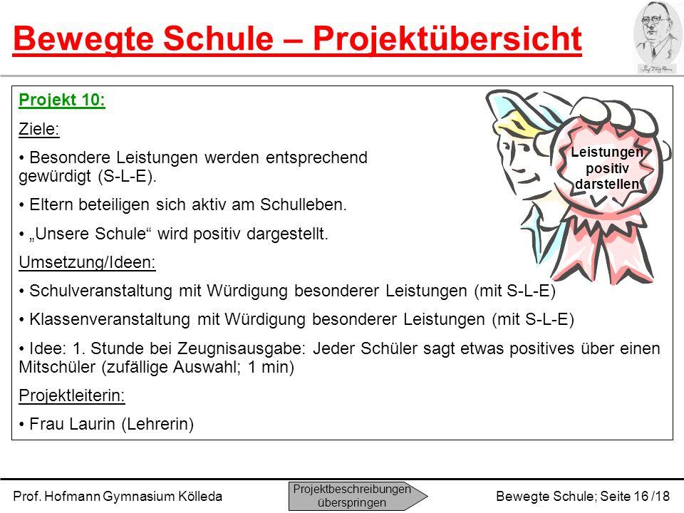 Prof. Hofmann Gymnasium KölledaBewegte Schule; Seite 16 /18 Bewegte Schule – Projektübersicht Projekt 10: Ziele: Besondere Leistungen werden entsprech