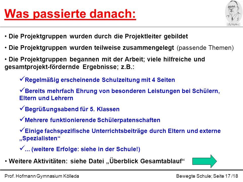 Was passierte danach: Prof. Hofmann Gymnasium KölledaBewegte Schule; Seite 17 /18 Die Projektgruppen wurden durch die Projektleiter gebildet Die Proje