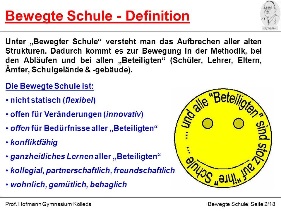 Bewegte Schule - Definition Prof. Hofmann Gymnasium KölledaBewegte Schule; Seite 2/18 Unter Bewegter Schule versteht man das Aufbrechen aller alten St