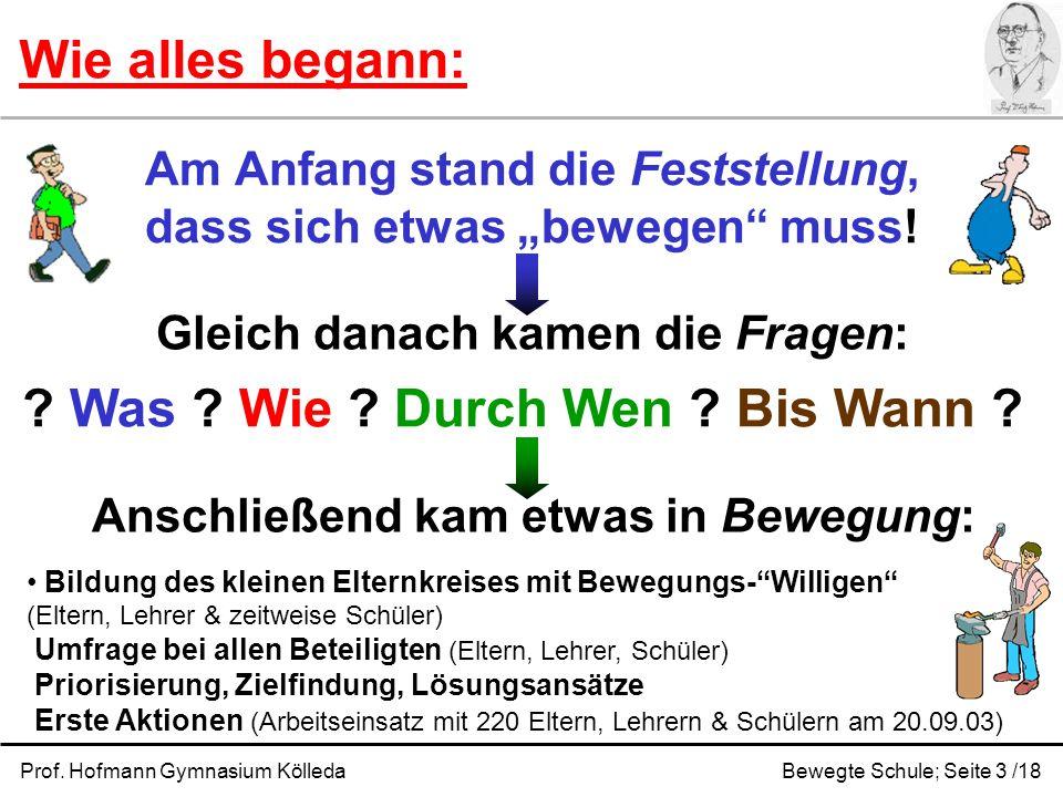 Prof. Hofmann Gymnasium KölledaBewegte Schule; Seite 3 /18 Am Anfang stand die Feststellung, dass sich etwas bewegen muss! Wie alles begann: Gleich da