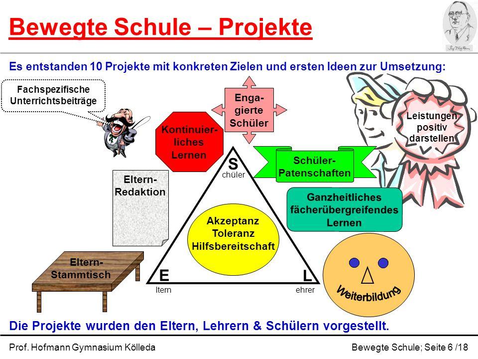 Leistungen positiv darstellen Bewegte Schule – Projekte Prof. Hofmann Gymnasium KölledaBewegte Schule; Seite 6 /18 Es entstanden 10 Projekte mit konkr