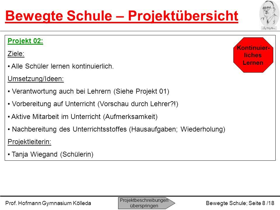 Prof. Hofmann Gymnasium KölledaBewegte Schule; Seite 8 /18 Bewegte Schule – Projektübersicht Projekt 02: Ziele: Alle Schüler lernen kontinuierlich. Um