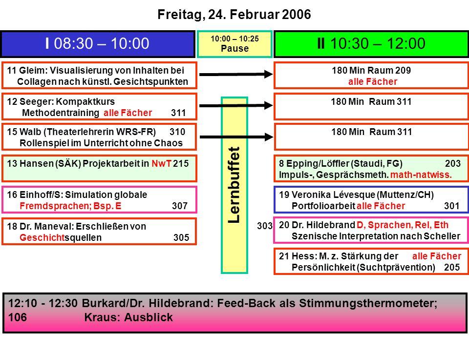 I 08:30 – 10:00 10:00 – 10:25 Pause II 10:30 – 12:00 11 Gleim: Visualisierung von Inhalten bei Collagen nach künstl.