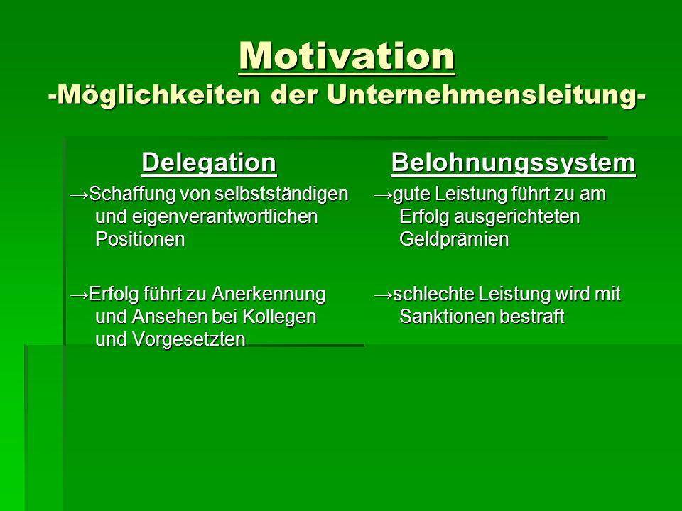 Motivation -Möglichkeiten der Unternehmensleitung- Delegation Schaffung von selbstständigen und eigenverantwortlichen Positionen Erfolg führt zu Anerk