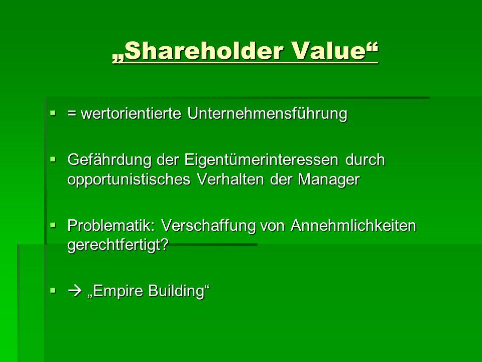 Shareholder Value = wertorientierte Unternehmensführung = wertorientierte Unternehmensführung Gefährdung der Eigentümerinteressen durch opportunistisc