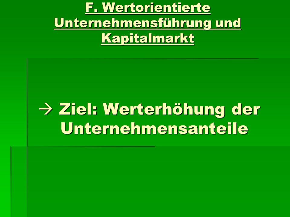 F. Wertorientierte Unternehmensführung und Kapitalmarkt Ziel: Werterhöhung der Unternehmensanteile Ziel: Werterhöhung der Unternehmensanteile