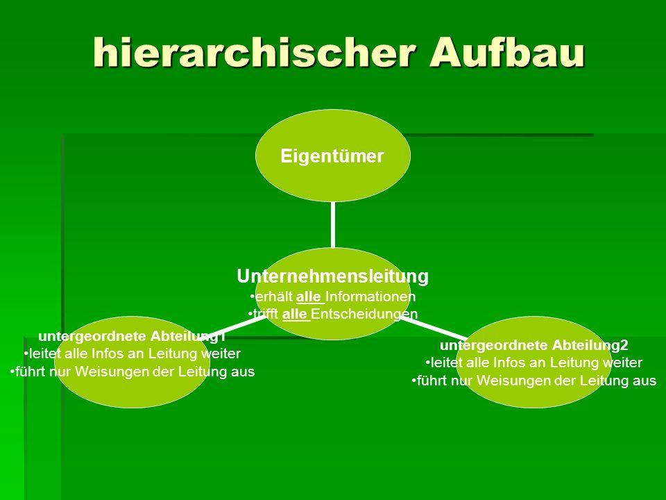 hierarchischer Aufbau Unternehmensleitung erhält alle Informationen trifft alle Entscheidungen Eigentümer untergeordnete Abteilung2 leitet alle Infos