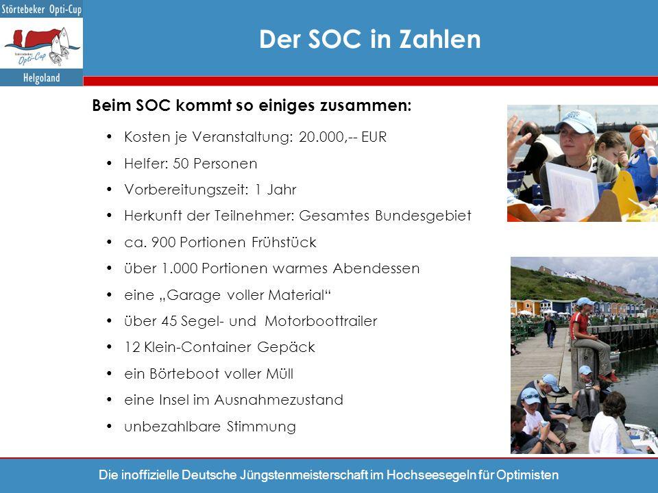 Die inoffizielle Deutsche Jüngstenmeisterschaft im Hochseesegeln für Optimisten Der SOC in Zahlen Beim SOC kommt so einiges zusammen: Kosten je Verans