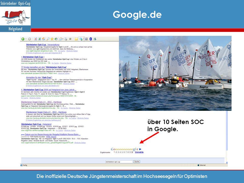 Die inoffizielle Deutsche Jüngstenmeisterschaft im Hochseesegeln für Optimisten über 10 Seiten SOC in Google. Google.de