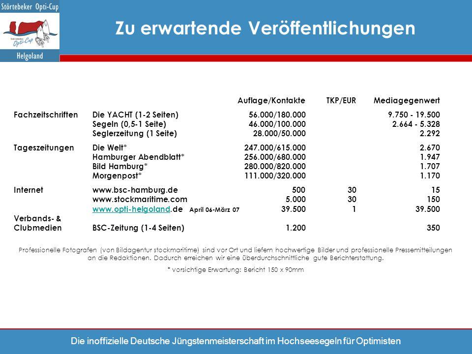 Die inoffizielle Deutsche Jüngstenmeisterschaft im Hochseesegeln für Optimisten Auflage/KontakteTKP/EURMediagegenwert Fachzeitschriften Die YACHT (1-2