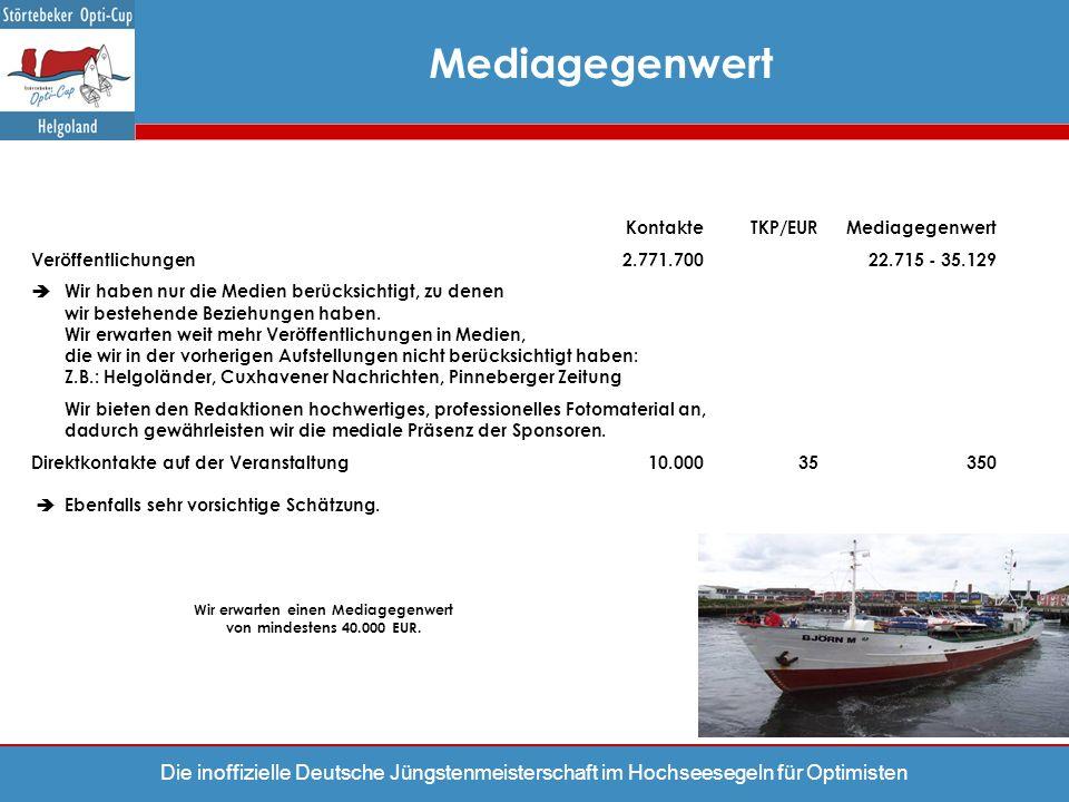 Die inoffizielle Deutsche Jüngstenmeisterschaft im Hochseesegeln für Optimisten KontakteTKP/EURMediagegenwert Veröffentlichungen2.771.70022.715 - 35.1
