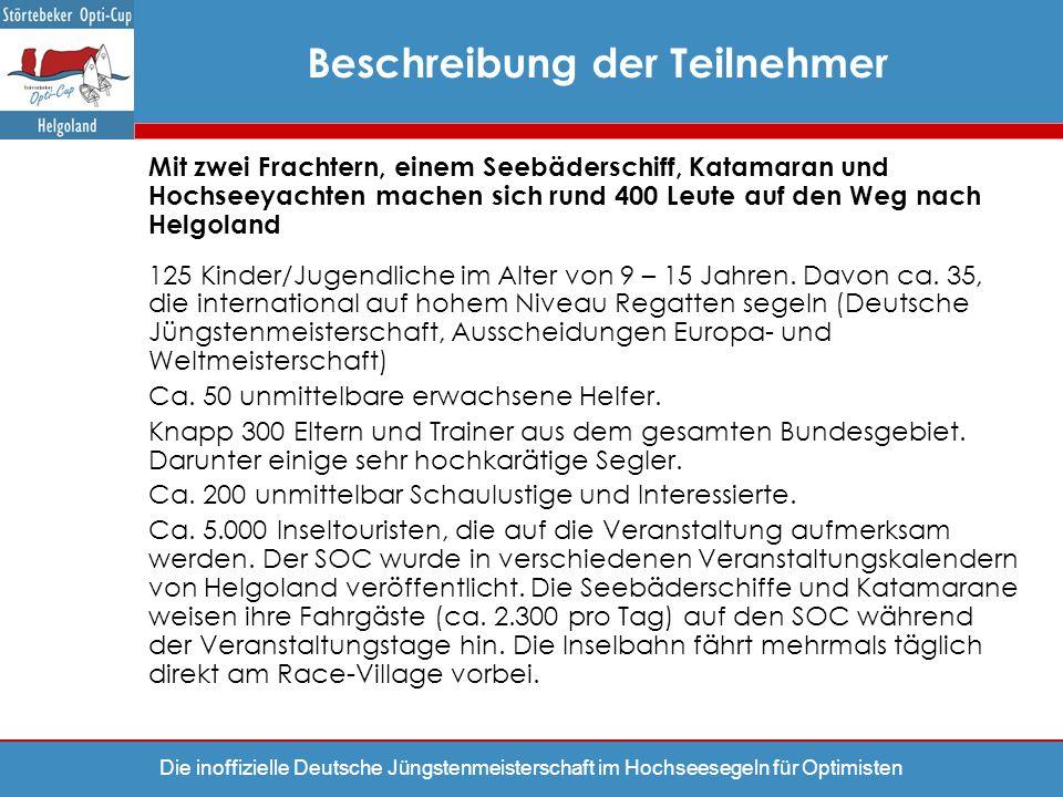 Die inoffizielle Deutsche Jüngstenmeisterschaft im Hochseesegeln für Optimisten Mit zwei Frachtern, einem Seebäderschiff, Katamaran und Hochseeyachten