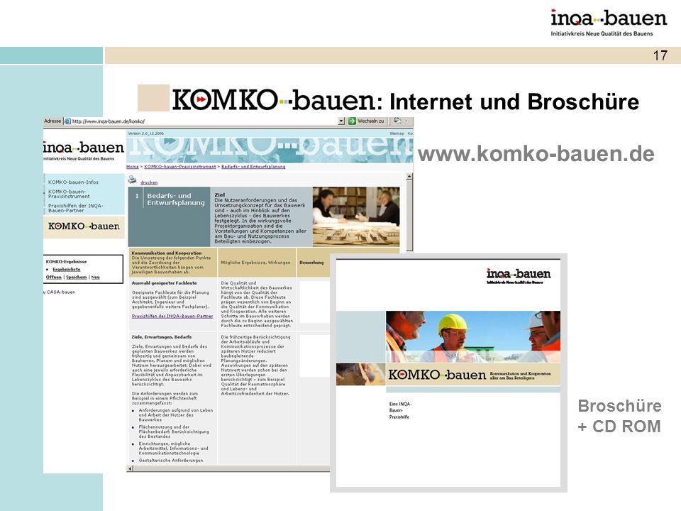 17 www.komko-bauen.de Broschüre + CD ROM : Internet und Broschüre