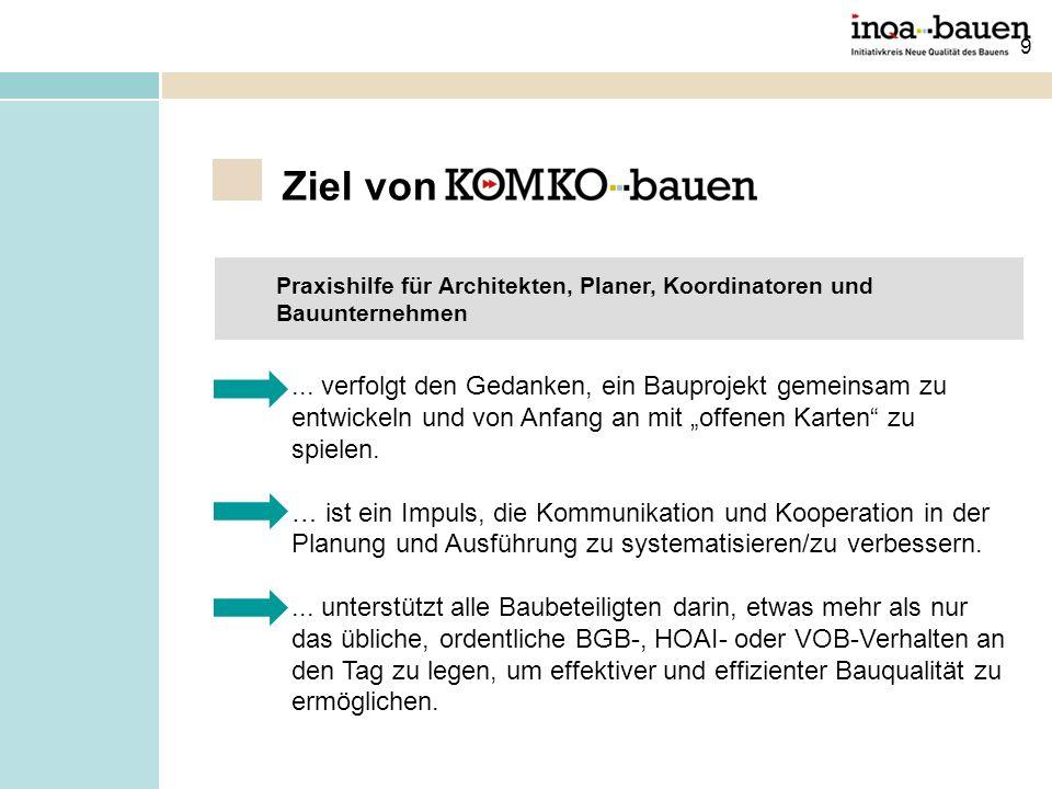 9 Ziel von Praxishilfe für Architekten, Planer, Koordinatoren und Bauunternehmen...