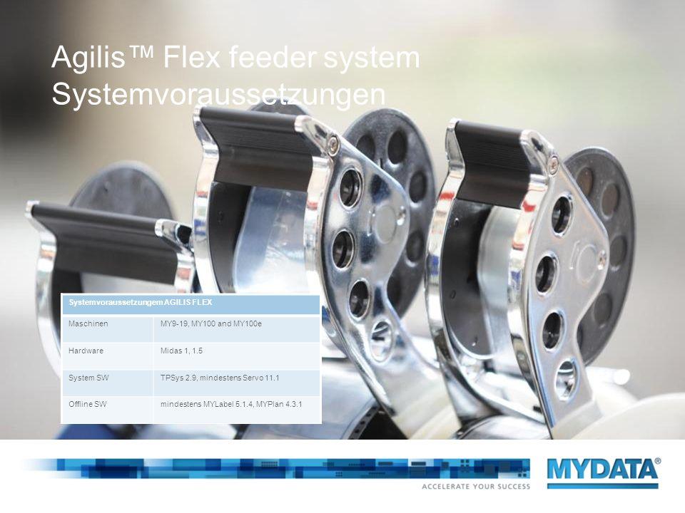 Agilis Flex feeder system Systemvoraussetzungen Systemvoraussetzungem AGILIS FLEX MaschinenMY9-19, MY100 and MY100e HardwareMidas 1, 1.5 System SWTPSy