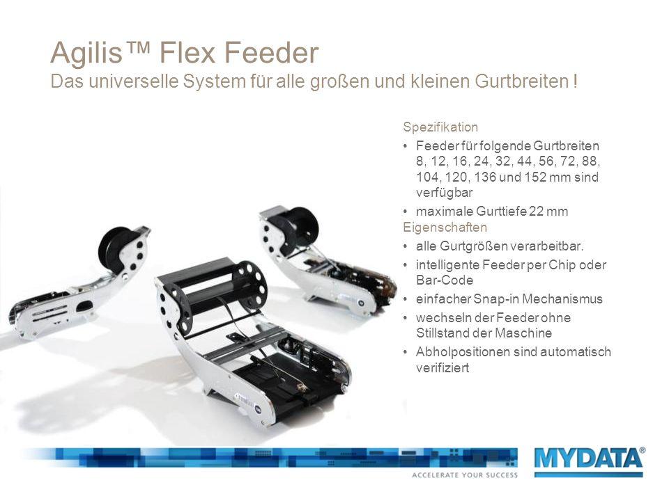 Agilis Flex Feeder Das universelle System für alle großen und kleinen Gurtbreiten ! Eigenschaften alle Gurtgrößen verarbeitbar. intelligente Feeder pe